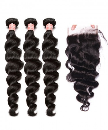 CARA Lace Closure with 3 Bundles Loose Wave Brazilian Virgin Hair With Closure