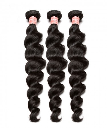 CARA Peruvian Loose Wave Non Remy Human Hair Extension 3Pcs