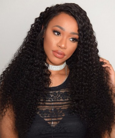 CARA 360 Lace Frontal Wig 180% Density Brazilian Lace Front Human Hair Wigs Kinky Curly