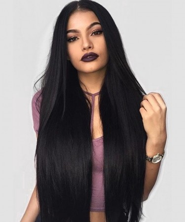 150% Density Lace Front Human Hair Wigs Yaki Straight Human Hair Wigs