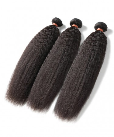 CARA Kinky Straight Peruvian Virgin Hair 3 Pcs 100% Human Hair Weaving