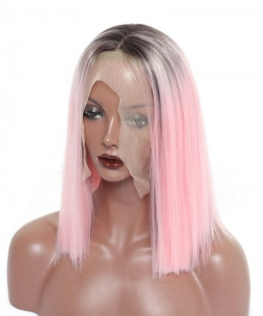 CARA Synthetic Lace Front Wig Ombre Wigs 1B Pink Straight Short Bob Lace Front Wigs