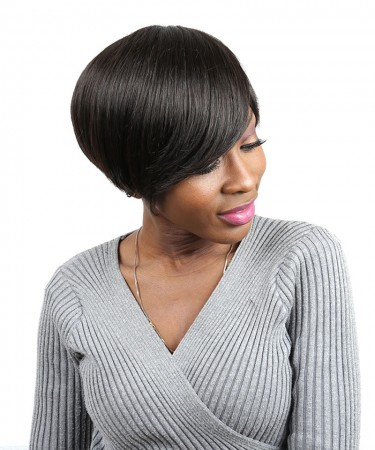 CARA Short Human Hair Bob Wig Brazilian Straight None Lace Human Hair Wigs 8 Inches