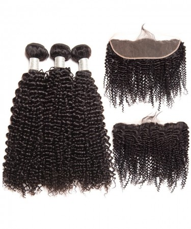CARA 100% Human Hair Lace Frontal with 3 Bundles Brazilian Kinky Curly Virgin Human Hair Weaves