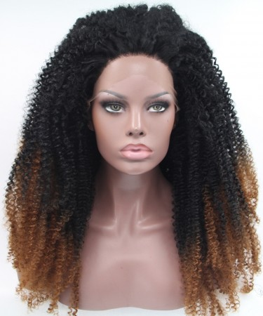 CARA 1B/Brown Ombre Wig Afro kinky curly Synthetic Wig Lace Front Wig
