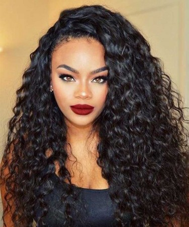 CARA Lace Front Human Hair Wigs For Black Women Water Wave 250% Density 16inch