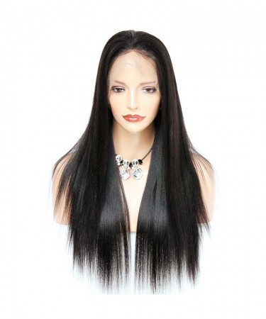 CARA 180% Density Brazilian Light Yaki Straight Lace Front Human Hair Wigs 14Inch