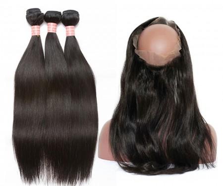 CARA Brazilian Virgin Hair Yaki Straight 360 Lace Frontal With 3 Bundles Natural Color