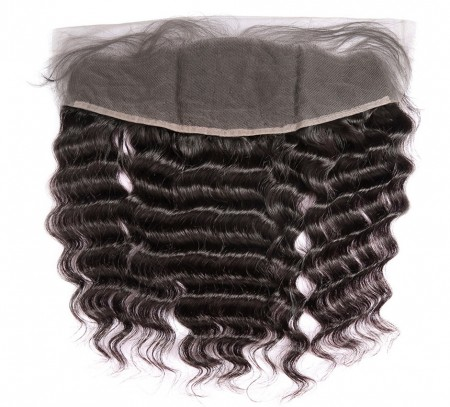 CARA Deep Wave Human Hair 13x4 Lace Frontal Natural Color Natural Hairline