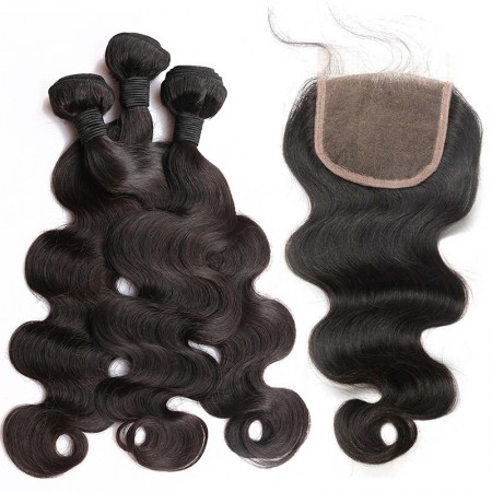 CARA Brazilian Body Wave Lace Closure with 3 Bundles Natural Color 100% Human Hair