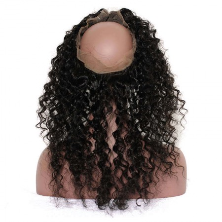CARA Pre Plucked Deep Wave 360 Lace Frontal Closure With Baby Hair Free Part