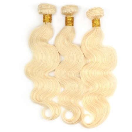 CARA Brazilian Body Wave Human Hair Weave Bundles 3 Pcs 613 Blonde Color