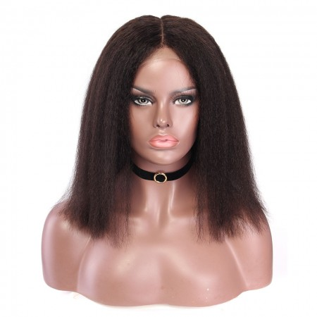 CARA SALE! Lace Front Human Hair Wigs Kinky Straight Brazilian Lace Wigs 120% Density