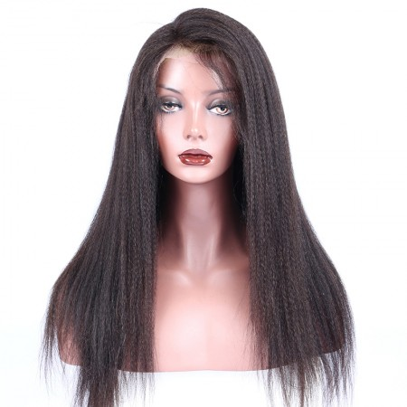 CARA SALE! Glueless Lace Front Human Hair Wigs Italian Yaki 120% Density Natural Hair Line