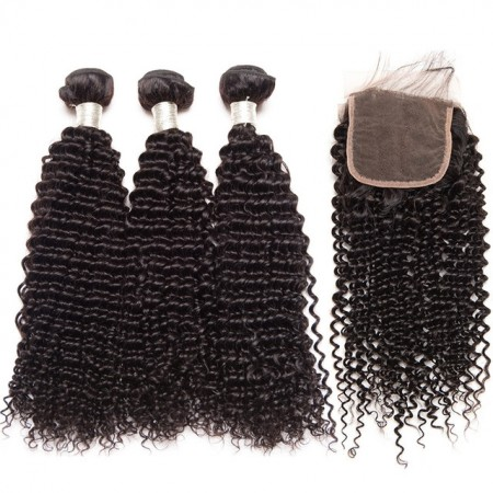 CARA Human Hair Lace Closure with 3 Bundles Brazilian Kinky Curly Virgin Human Hair
