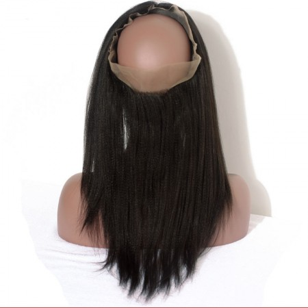 CARA Yaki Straight Brazilian Human Hair 360 Lace Frontal With Natural Hairline