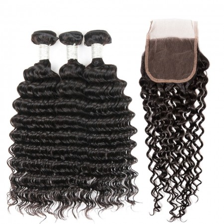 CARA Free Part Lace Frontal Closure With 3 Bundles Brazilian Virgin Hair Deep Wave