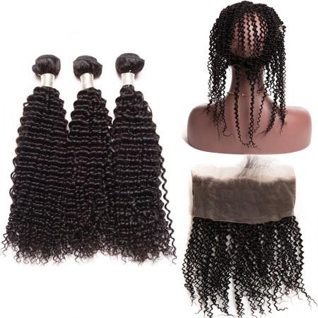 CARA Brazilian Virgin Hair Kinky Curly 360 Lace Frontal With 3 Bundles
