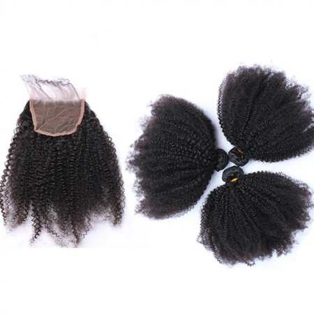 CARA Afro Kinky Curly Lace Closure with 3 Bundles 100% Human Hair Bundles with Closure