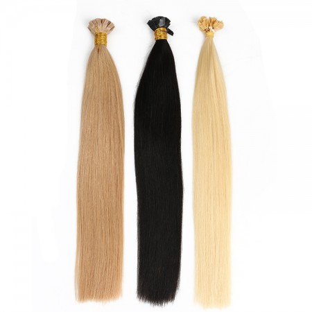 CARA 100% Virgin Remy Human Hair Extensions Keratin Fusion Flat Tip Hair Extension