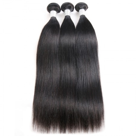 CARA 100% Brazilian Human Hair Weave Bundles Straight 3Pcs Natural Black