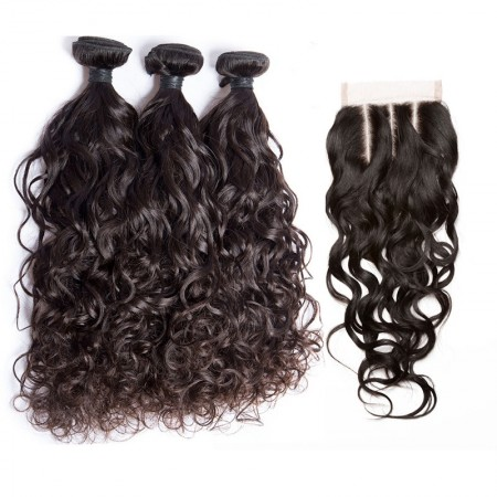 CARA Water Wave Lace Frontal Closure with Bundles 4Pcs Lot Human Hair Weaves with Closure