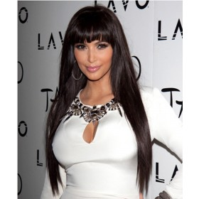 CARA 13x6  Deep Part 150% Density Silky Straight Lace Front Wigs With Bang