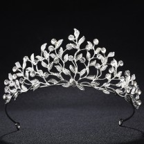Hot Selling ! alloy crown leaf totem water diamond bride crown European wedding headdress wholesale