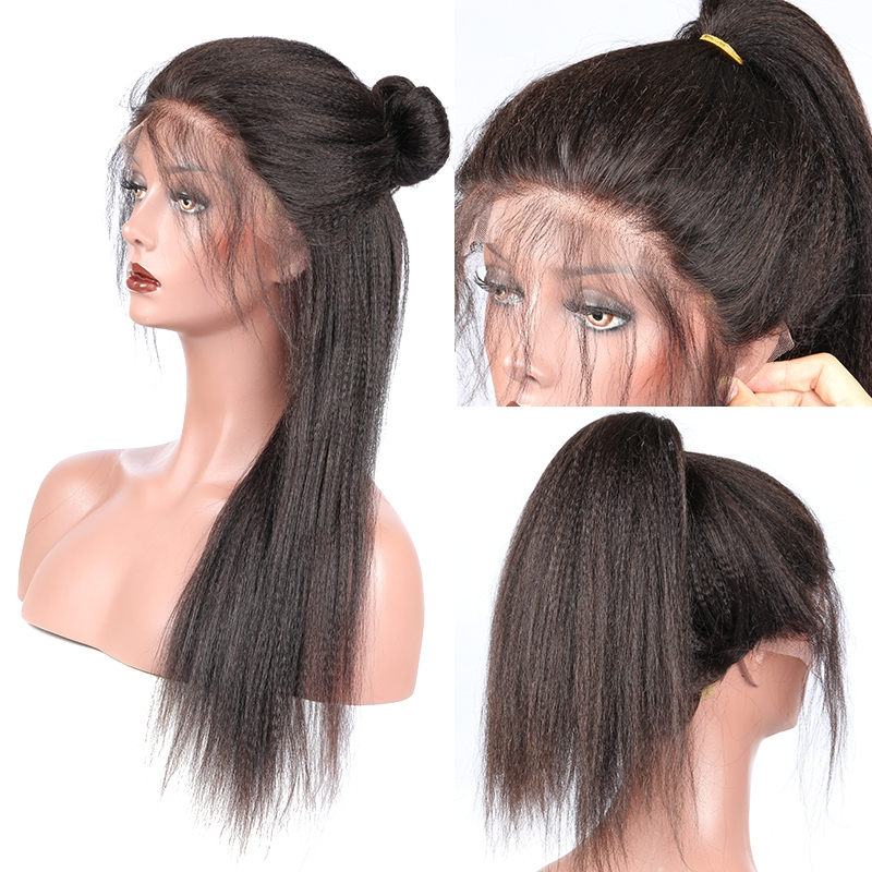 Brazilian Yaki Straight 13x6 Lace Front Human Hair Wigs 250% Density Pre Plucked Deep Part Wig